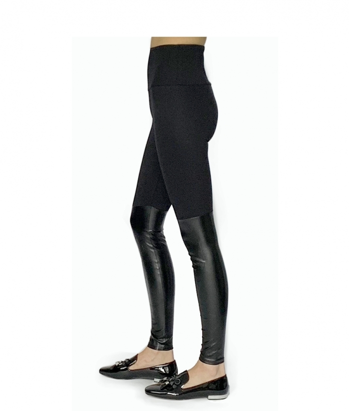 BEST SELLING VISCOSE & FAUX-LEATHER LEGGIING two view