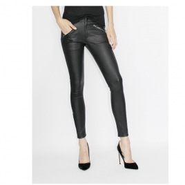 JEAN STYLE STRETCH LEATHER WITH FRONT ZIPS AND STUDDS ON HEM two view
