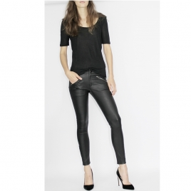 JEAN STYLE STRETCH LEATHER WITH FRONT ZIPS AND STUDDS ON HEM four view