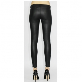 JEAN STYLE STRETCH LEATHER WITH FRONT ZIPS AND STUDDS ON HEM six view