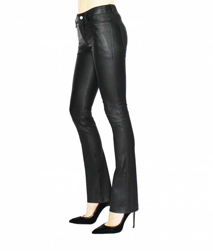 DONNA FLARED LEATHER PANTS - BLACK three view