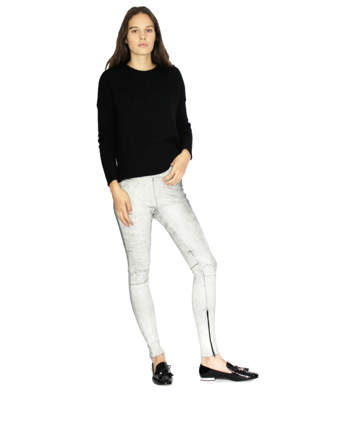 ELLY LEATHER LEGGINGS- B WHITE two view