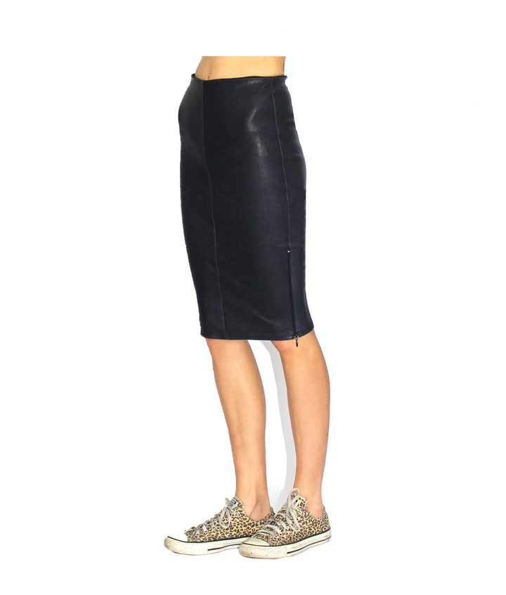 IVY ZIP LEATHER SKIRT - NAVY five view
