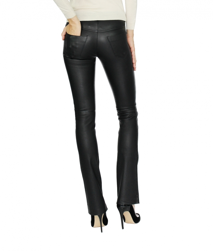 DONNA FLARED LEATHER PANTS - BLACK four view