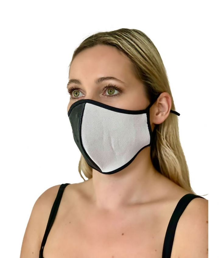 Leather Face Mask Black White two view