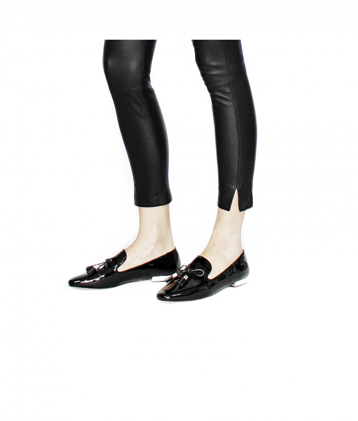 BETTY CROPPED LEATHER PANTS - BLACK three view