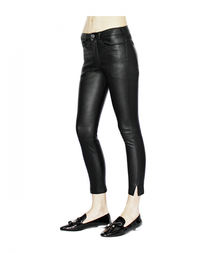BETTY CROPPED LEATHER PANTS - BLACK two view