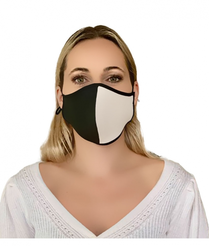 Leather Face Mask Black White three view