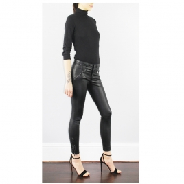 JEAN STYLE STRETCH LEATHER WITH FRONT ZIPS AND STUDDS ON HEM three view