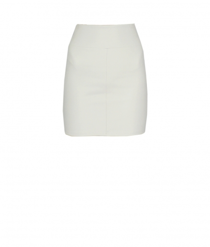 CHER LEATHER MINI SKIRT - WHITE one view