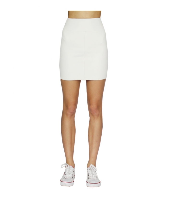 CHER WHITE LEATHER MINI SKIRT  two view
