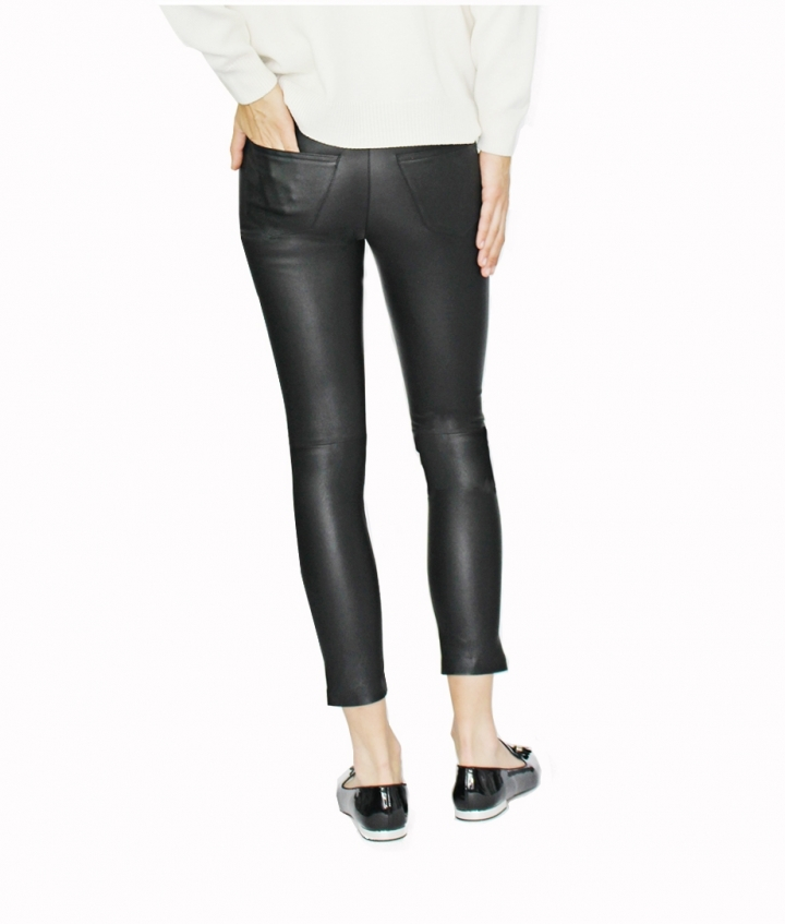 BETTY CROPPED LEATHER PANTS - BLACK four view