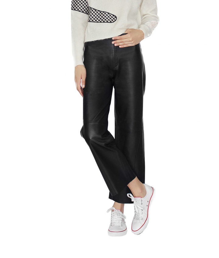 KATY LEATHER CULOTTE - BLACK five view