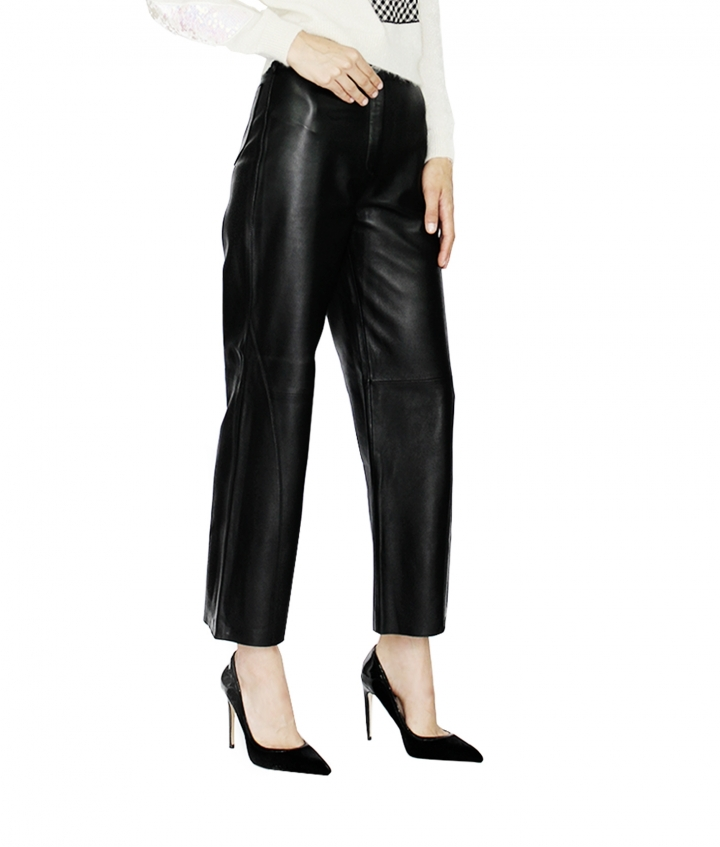 KATY LEATHER CULOTTE - BLACK three view