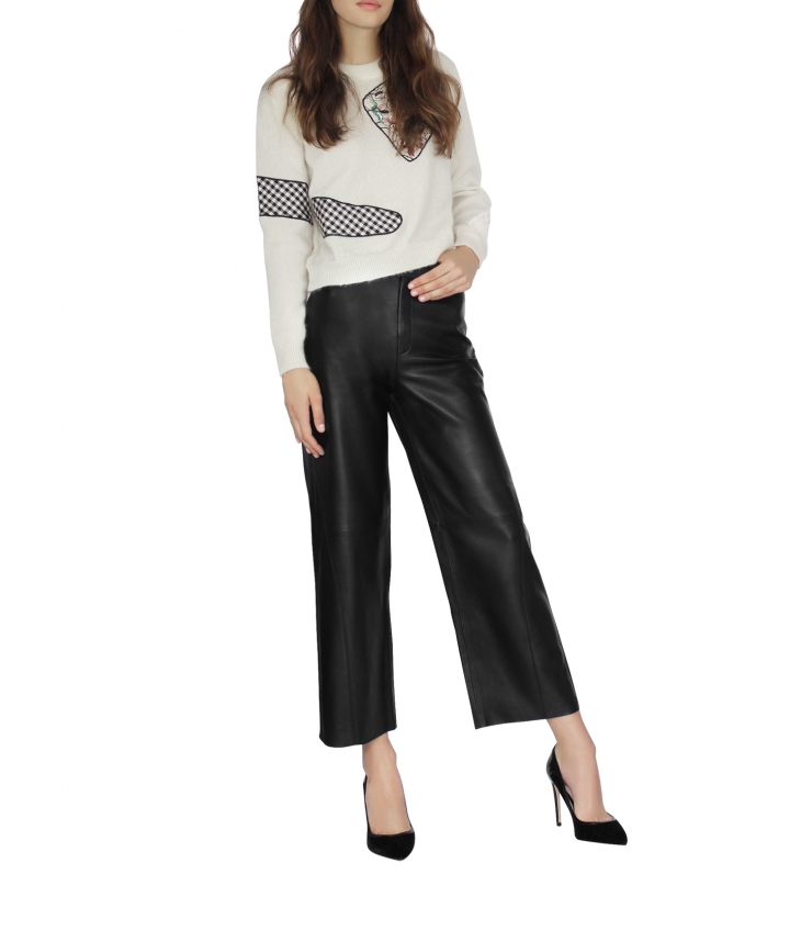 KATY LEATHER CULOTTE - BLACK two view