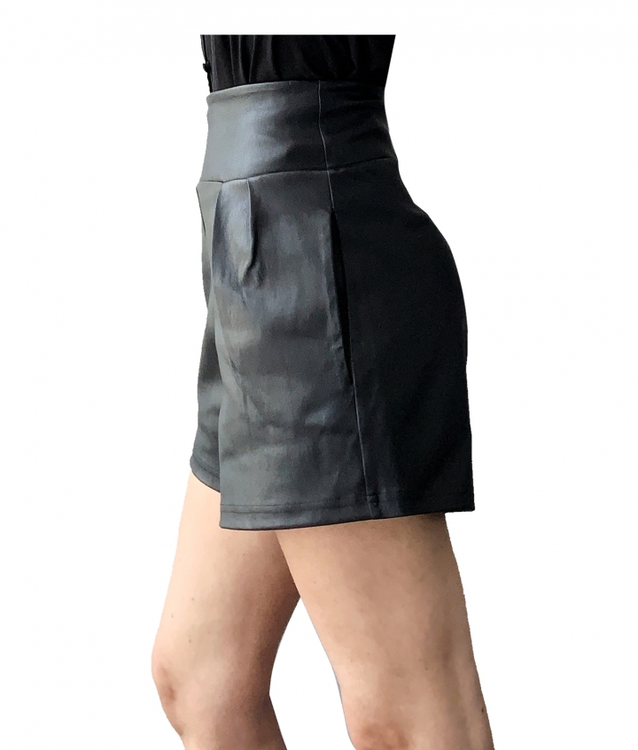LOTTY LEATHER SHORTS- BLACK three view