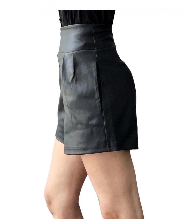 Lotty Black Leather Shorts three view