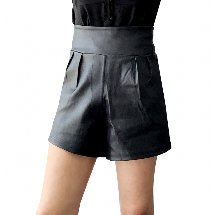 Lotty Black Leather Shorts two view