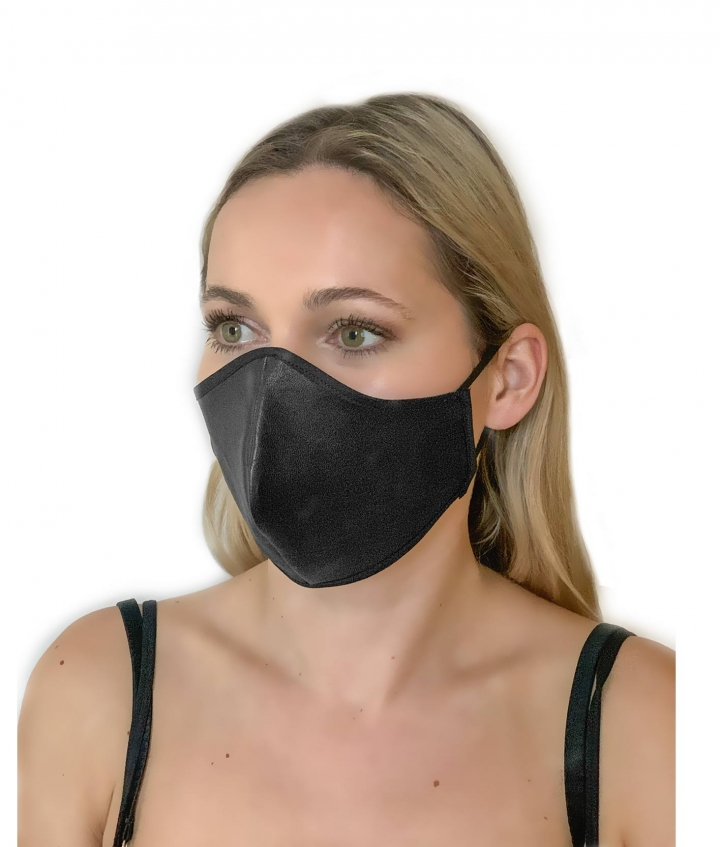 LEATHER FACE MASK- BLACK three view