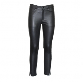 BETTY CROPPED LEATHER PANTS - BLACK