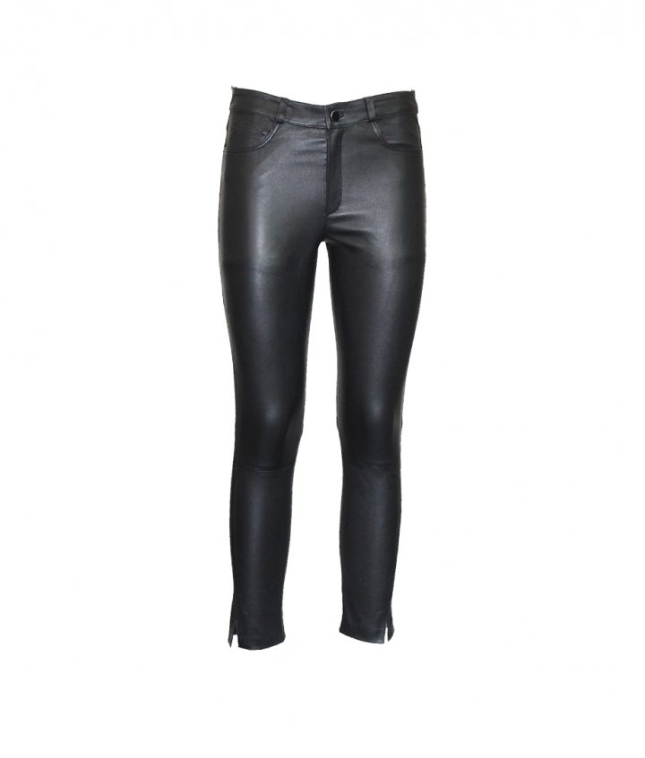 BETTY CROPPED LEATHER PANTS - BLACK one view