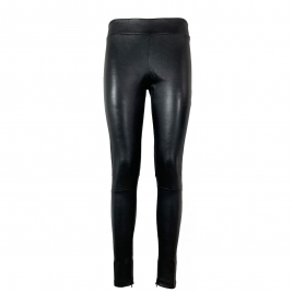 LOLA COVERED ELASTIC LEATHER LEGGINGS - BLACK