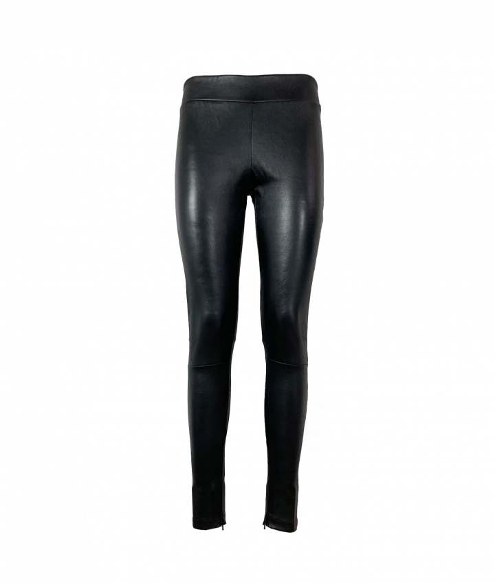 LOLA COVERED ELASTIC LEATHER LEGGINGS - BLACK one view