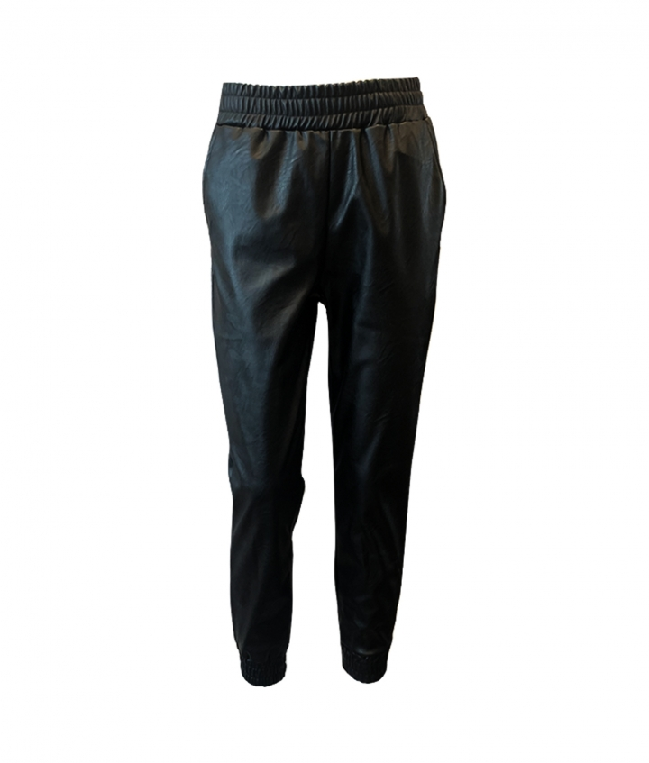 MILLY JOGGERS FAUX LEATHER - BLACK one view