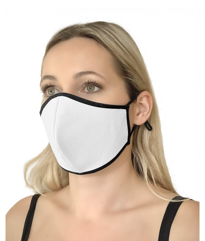 Leather Face Mask White three view