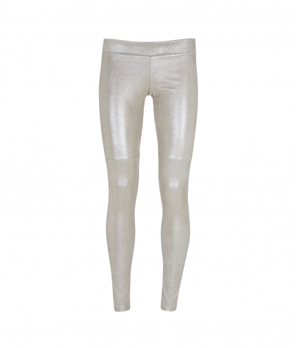PATTY SUEDE LEGGING- METALLIC IVORY one view