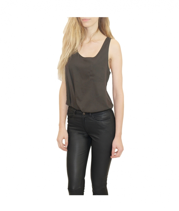MID WAIST JEAN BLACK PREMIUM LEATHER three view
