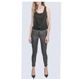 MID WAIST JEAN STYLE PREMIUM LEATHER GREY two view
