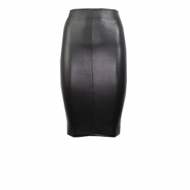 IVY LEATHER SKIRT- BLACK