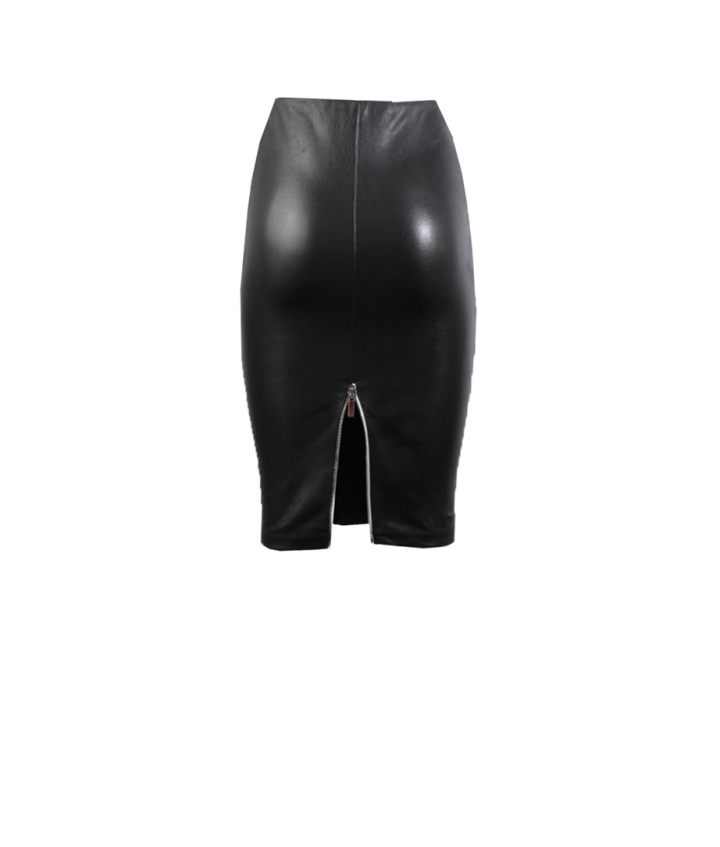 IVY LEATHER SKIRT- BLACK three view