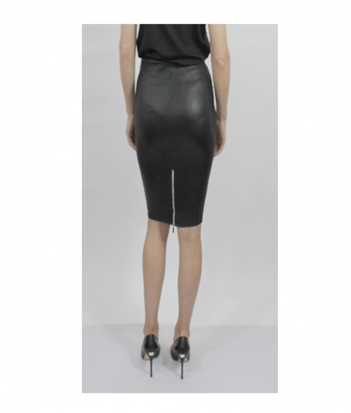HIGHWAIST STRETCH LEATHER SKIRT six view