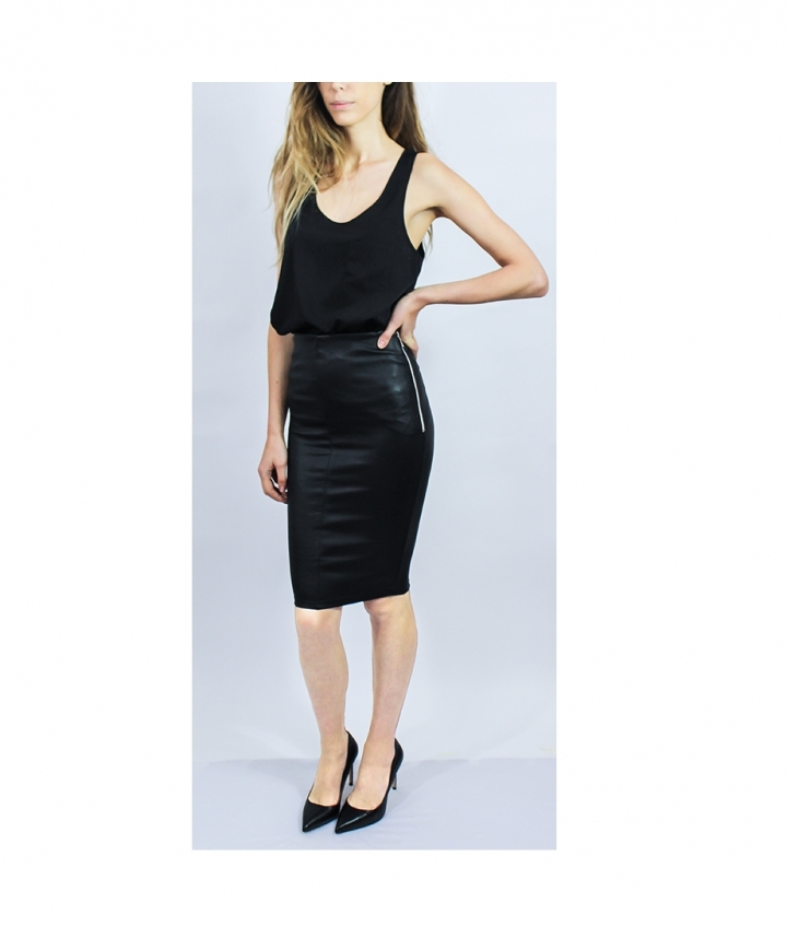 HIGHWAIST STRETCH LEATHER SKIRT four view