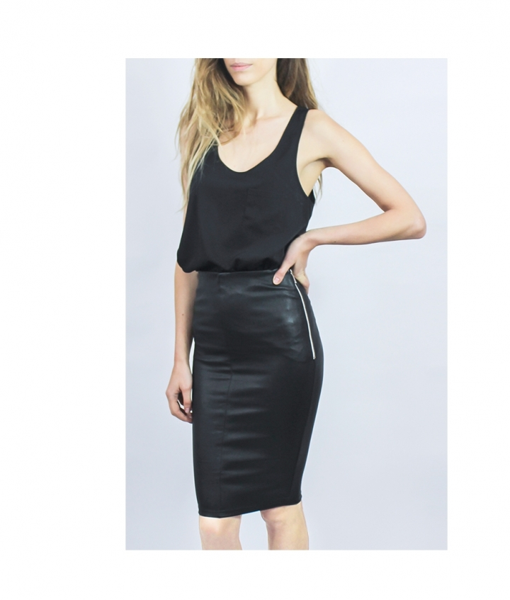 HIGHWAIST STRETCH LEATHER SKIRT five view