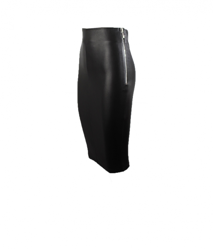IVY LEATHER SKIRT- BLACK two view