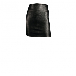 CHER MINI LEATHER SKIRT- REPTILE BLACK