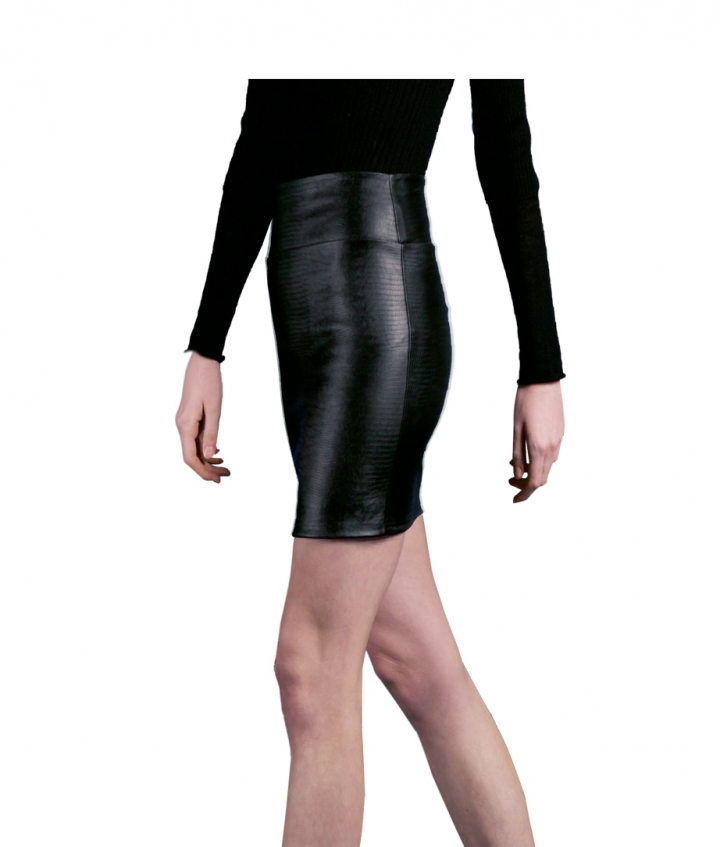 CHER MINI REPTILE PRINT LEATHER SKIRT four view