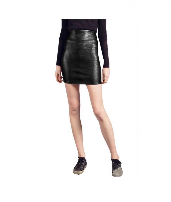 CHER MINI REPTILE PRINT LEATHER SKIRT two view