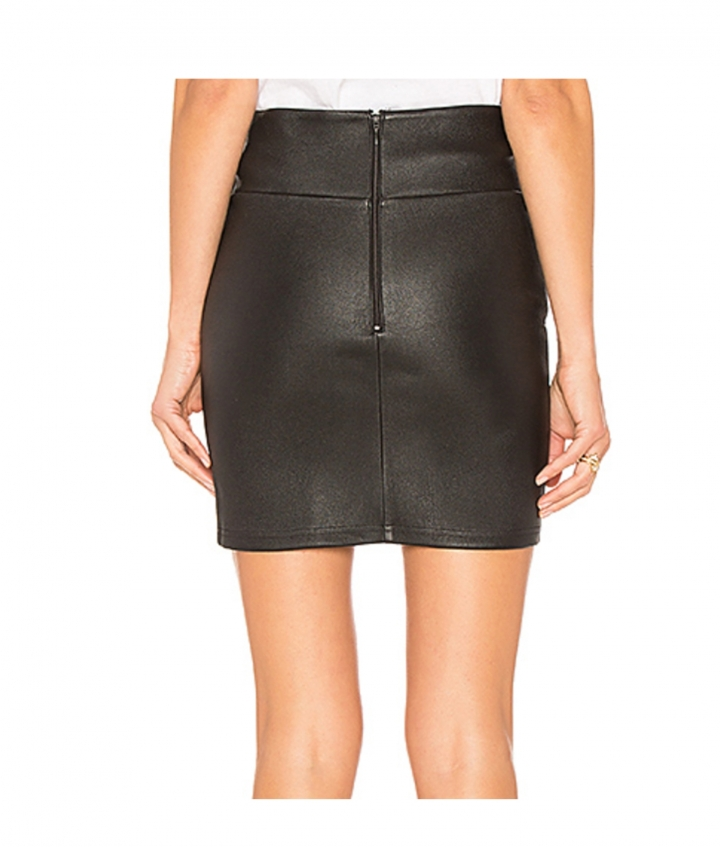 CHER MINI LEATHER SKIRT - BLACK three view