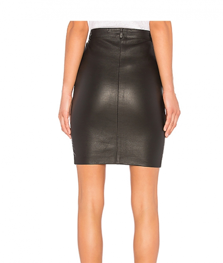 SELINA LEATHER SKIRT - BLACK four view