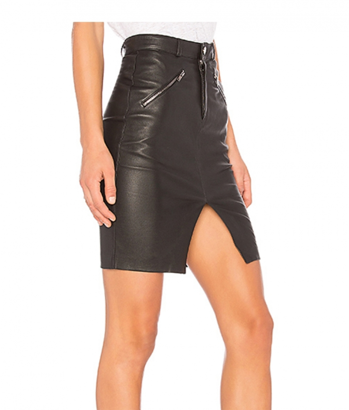 SELINA LEATHER SKIRT - BLACK three view