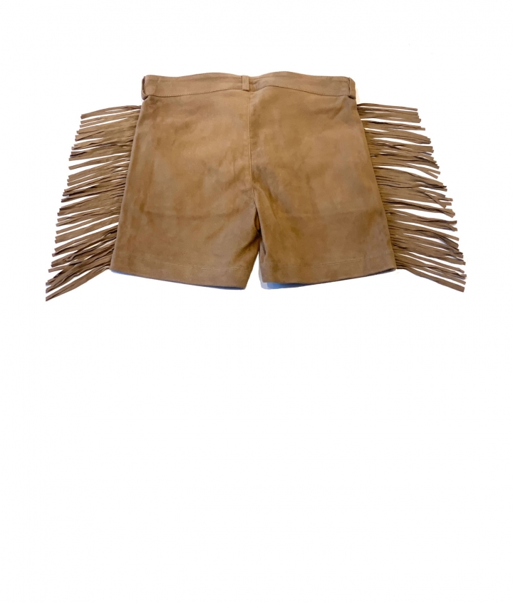 FRINGED SUEDE SHORTS- SAND five view