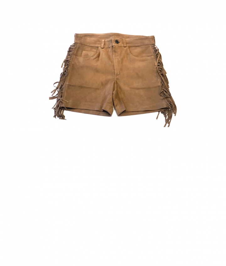 FRINGED SUEDE SHORTS- SAND four view