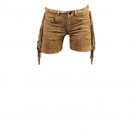 FRINGED SUEDE SHORTS- SAND