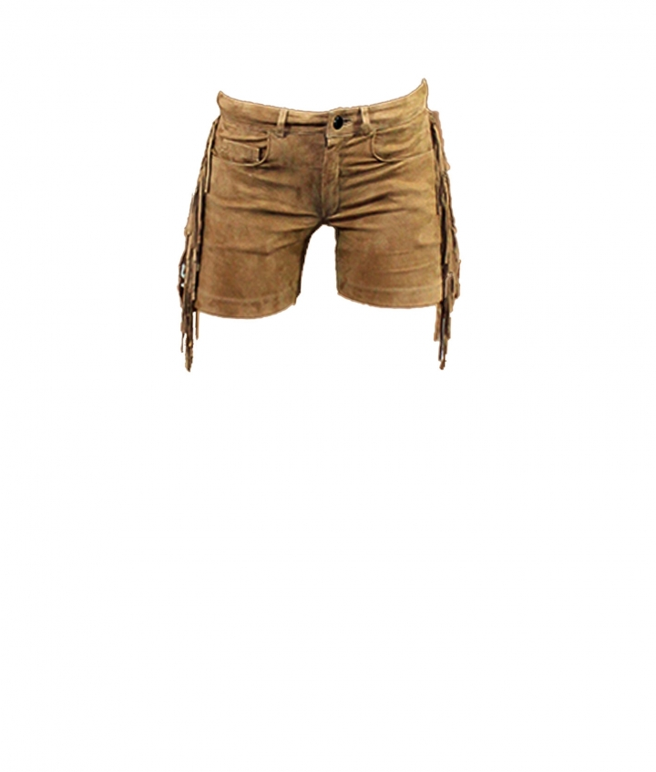 FRINGED SUEDE SHORTS- SAND one view