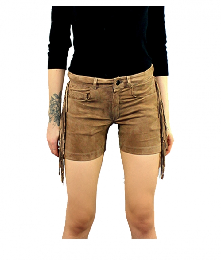 FRINGED SUEDE SHORTS- SAND two view