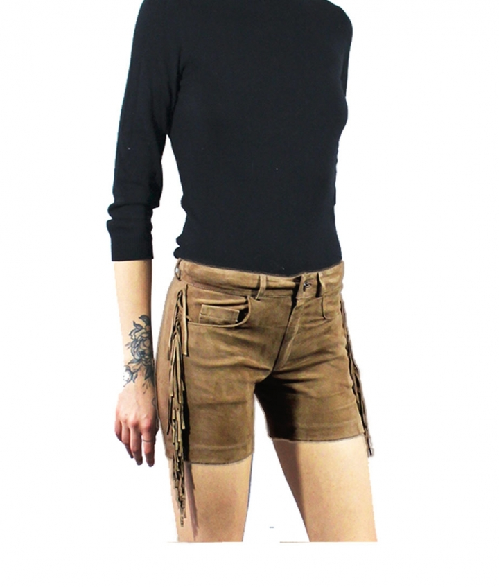 FRINGED SUEDE SHORTS- SAND three view